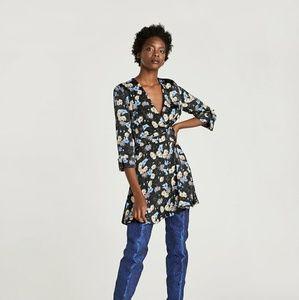 Zara Basic | Floral V-Neck Dress